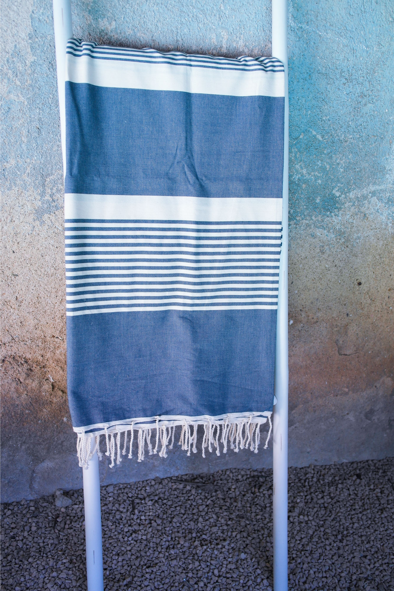 fouta double jet canap tissage plat bleu jean 2m x 3m artisanat by sous les pav s la plage. Black Bedroom Furniture Sets. Home Design Ideas
